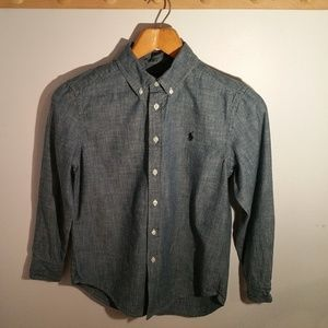 Ralph Lauren Size 10 Solid Blue Oxford Shirt